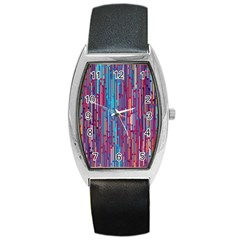 Vertical Behance Line Polka Dot Blue Green Purple Red Blue Black Barrel Style Metal Watch by Mariart