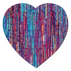 Vertical Behance Line Polka Dot Blue Green Purple Red Blue Black Jigsaw Puzzle (heart) by Mariart