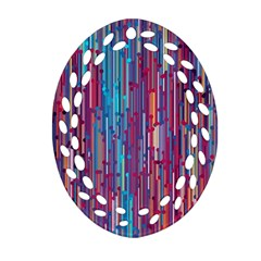 Vertical Behance Line Polka Dot Blue Green Purple Red Blue Black Ornament (oval Filigree) by Mariart