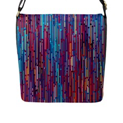 Vertical Behance Line Polka Dot Blue Green Purple Red Blue Black Flap Messenger Bag (l)  by Mariart