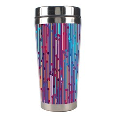 Vertical Behance Line Polka Dot Blue Green Purple Red Blue Black Stainless Steel Travel Tumblers by Mariart