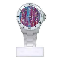 Vertical Behance Line Polka Dot Blue Green Purple Red Blue Black Plastic Nurses Watch by Mariart