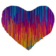 Vertical Behance Line Polka Dot Blue Red Orange Large 19  Premium Flano Heart Shape Cushions