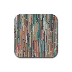 Vertical Behance Line Polka Dot Grey Blue Brown Rubber Coaster (square)  by Mariart