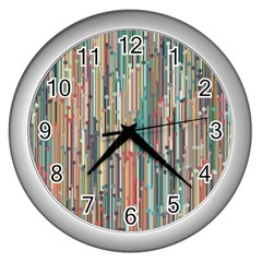 Vertical Behance Line Polka Dot Grey Blue Brown Wall Clocks (silver)  by Mariart