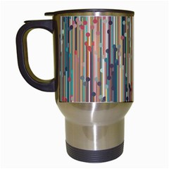 Vertical Behance Line Polka Dot Grey Blue Brown Travel Mugs (white) by Mariart