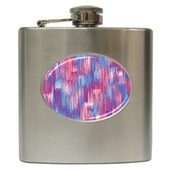 Vertical Behance Line Polka Dot Blue Green Purple Red Blue Small Hip Flask (6 Oz) by Mariart