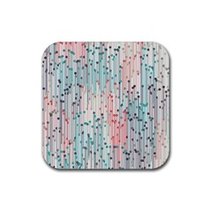 Vertical Behance Line Polka Dot Grey Pink Rubber Square Coaster (4 Pack)  by Mariart