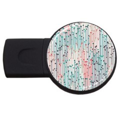 Vertical Behance Line Polka Dot Grey Pink Usb Flash Drive Round (4 Gb)