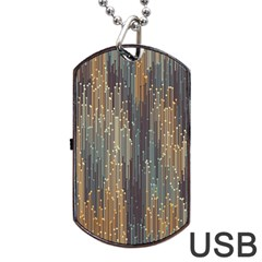 Vertical Behance Line Polka Dot Grey Orange Dog Tag Usb Flash (two Sides) by Mariart