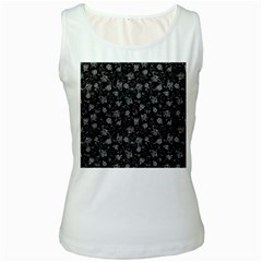Floral Pattern Women s White Tank Top by ValentinaDesign