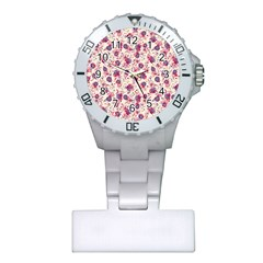 Floral Pattern Plastic Nurses Watch by ValentinaDesign