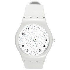 Dots Pattern Round Plastic Sport Watch (m) by ValentinaDesign
