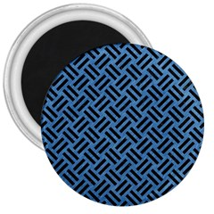 Woven2 Black Marble & Blue Colored Pencil (r) 3  Magnet by trendistuff