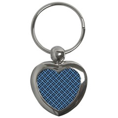 Woven2 Black Marble & Blue Colored Pencil (r) Key Chain (heart) by trendistuff