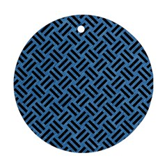 Woven2 Black Marble & Blue Colored Pencil (r) Round Ornament (two Sides) by trendistuff