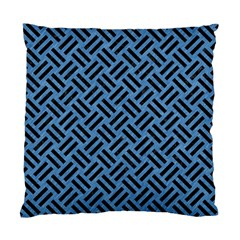 Woven2 Black Marble & Blue Colored Pencil (r) Standard Cushion Case (two Sides) by trendistuff