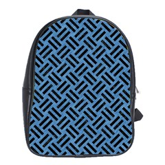 Woven2 Black Marble & Blue Colored Pencil (r) School Bag (large) by trendistuff