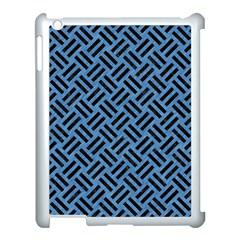 Woven2 Black Marble & Blue Colored Pencil (r) Apple Ipad 3/4 Case (white) by trendistuff