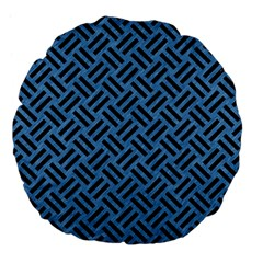 Woven2 Black Marble & Blue Colored Pencil (r) Large 18  Premium Flano Round Cushion  by trendistuff
