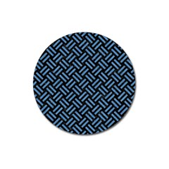 Woven2 Black Marble & Blue Colored Pencil Magnet 3  (round) by trendistuff