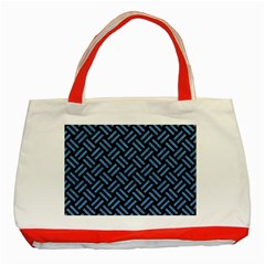 Woven2 Black Marble & Blue Colored Pencil Classic Tote Bag (red) by trendistuff