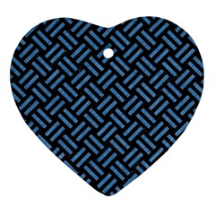 Woven2 Black Marble & Blue Colored Pencil Heart Ornament (two Sides) by trendistuff