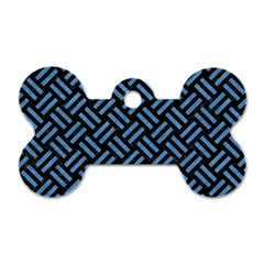 Woven2 Black Marble & Blue Colored Pencil Dog Tag Bone (two Sides) by trendistuff
