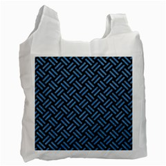 Woven2 Black Marble & Blue Colored Pencil Recycle Bag (two Side) by trendistuff