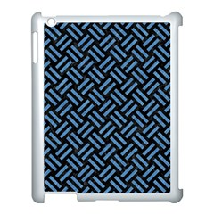 Woven2 Black Marble & Blue Colored Pencil Apple Ipad 3/4 Case (white) by trendistuff