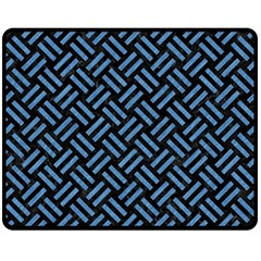 Woven2 Black Marble & Blue Colored Pencil Double Sided Fleece Blanket (medium) by trendistuff