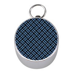 Woven2 Black Marble & Blue Colored Pencil Silver Compass (mini) by trendistuff