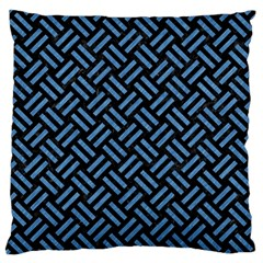 Woven2 Black Marble & Blue Colored Pencil Standard Flano Cushion Case (one Side) by trendistuff