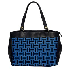 Woven1 Black Marble & Blue Colored Pencil (r) Oversize Office Handbag by trendistuff