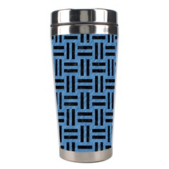 Woven1 Black Marble & Blue Colored Pencil (r) Stainless Steel Travel Tumbler by trendistuff