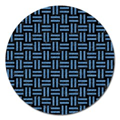 Woven1 Black Marble & Blue Colored Pencil Magnet 5  (round) by trendistuff