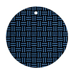 Woven1 Black Marble & Blue Colored Pencil Round Ornament (two Sides) by trendistuff