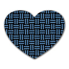 Woven1 Black Marble & Blue Colored Pencil Heart Mousepad by trendistuff