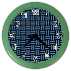 Woven1 Black Marble & Blue Colored Pencil Color Wall Clock by trendistuff