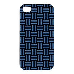 Woven1 Black Marble & Blue Colored Pencil Apple Iphone 4/4s Hardshell Case by trendistuff