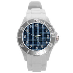Woven1 Black Marble & Blue Colored Pencil Round Plastic Sport Watch (l) by trendistuff