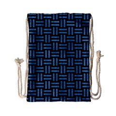 Woven1 Black Marble & Blue Colored Pencil Drawstring Bag (small) by trendistuff