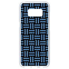 Woven1 Black Marble & Blue Colored Pencil Samsung Galaxy S8 White Seamless Case