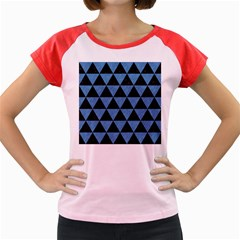 Triangle3 Black Marble & Blue Colored Pencil Women s Cap Sleeve T Shirt by trendistuff