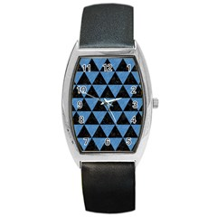 Triangle3 Black Marble & Blue Colored Pencil Barrel Style Metal Watch by trendistuff