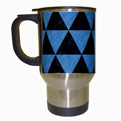 Triangle3 Black Marble & Blue Colored Pencil Travel Mug (white) by trendistuff