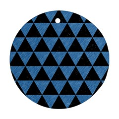 Triangle3 Black Marble & Blue Colored Pencil Round Ornament (two Sides) by trendistuff