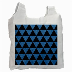 Triangle3 Black Marble & Blue Colored Pencil Recycle Bag (one Side) by trendistuff