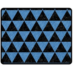 Triangle3 Black Marble & Blue Colored Pencil Fleece Blanket (medium) by trendistuff