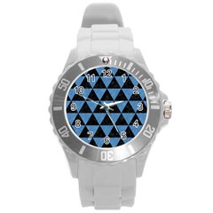 Triangle3 Black Marble & Blue Colored Pencil Round Plastic Sport Watch (l) by trendistuff